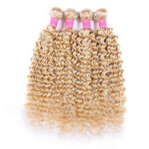 H&F 613 Blonde Human Hair Deep Wave 4 bundles