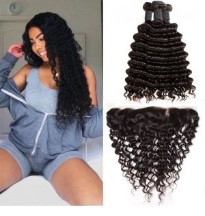 H&F 8A Virgin Human Hair Deep Wave 3 Bundles With Lace Frontal Free Part Natural Black