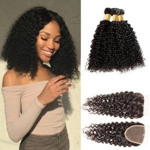 H&F 10A Jerry Curly Virgin Human Hair 3 Bundles With Lace Closure Free Part Natural Black