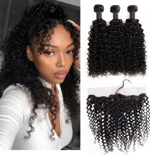 H&F 8A Jerry Curly Virgin Human Hair 3 Bundles With Lace Frontal Free Part Natural Black