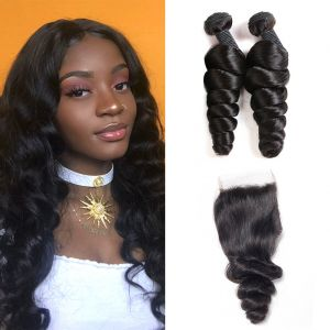 H&F 8A Virgin Human Hair Loose Wave 2 Bundles With Lace Closure Free Part Natural Black