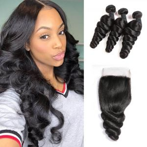 H&F 8A Virgin Human Hair Loose Wave 3 Bundles With Lace Closure Free Part Natural Black