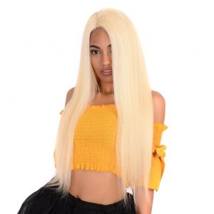 H&F 613 Blonde Straight Human Hair 3 Bundles With Lace Frontal Free Part