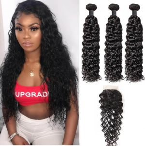 H&F 8A Virgin Human Hair Water Wave 3 Bundles With Lace Closure Free Part Natural Black