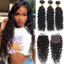 H&F 10A Virgin Human Hair Water Wave 3 Bundles With Lace Closure Free Part Natural Black