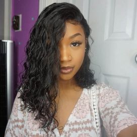 H&F 10A Virgin Human Hair Water Wave 3 Bundles With Lace Frontal Free Part Natural Black